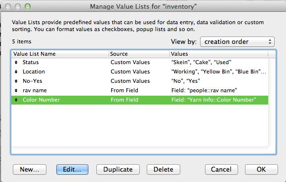 Value List screen